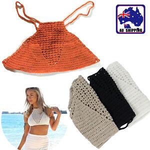 6a4bf3ef46 Women Crochet Lace Bralette Knit Vet Bra Boho Beach Bikini Tank Crop ...