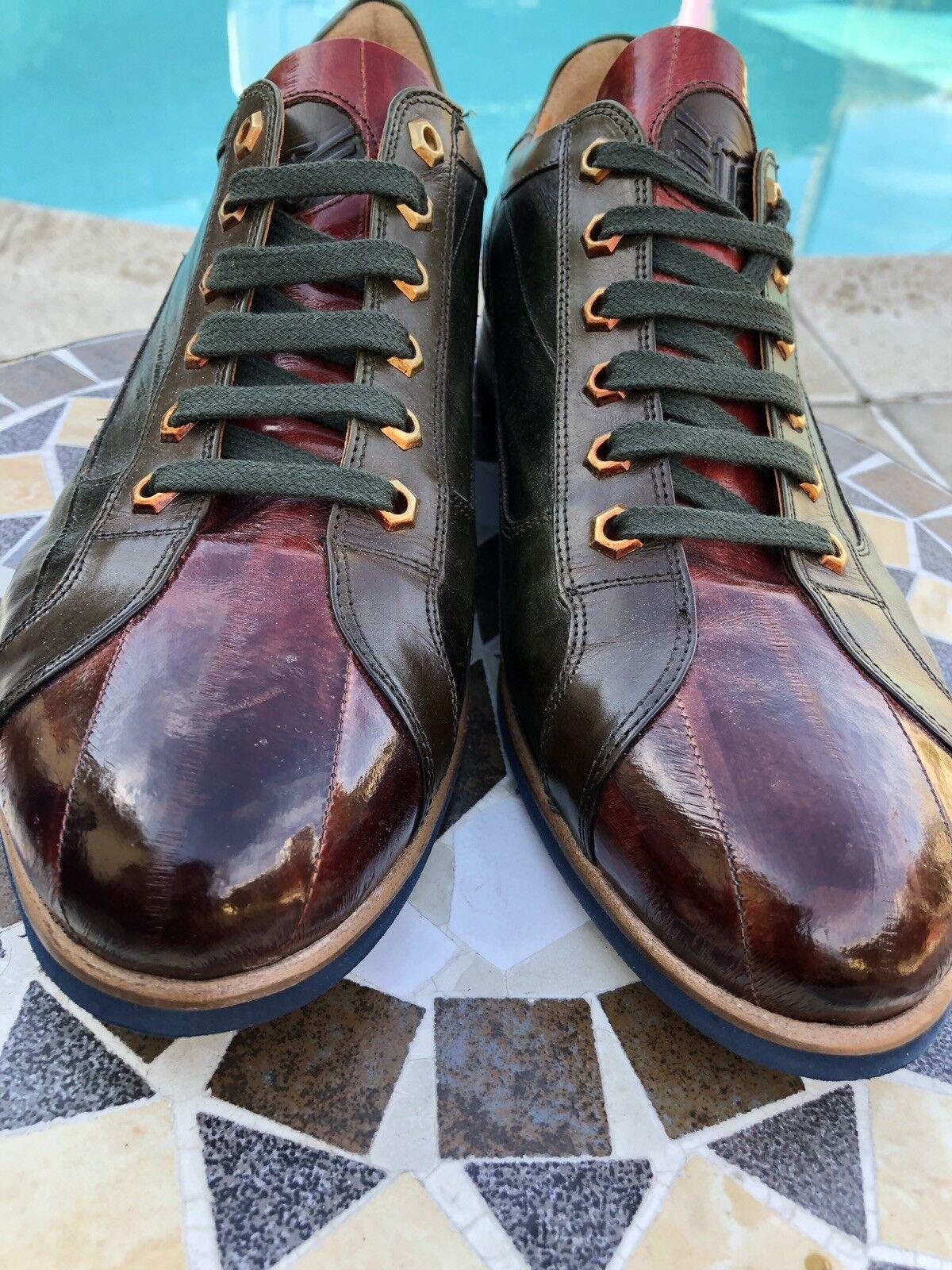 Mens 10.5D 44 Conac & Green Leather Oxfords Rare Venice   385
