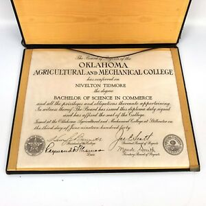 1900s-OK-Agricultural-and-Mechanical-College-Diploma-Degree-Nivelton-Tidmore-VTG