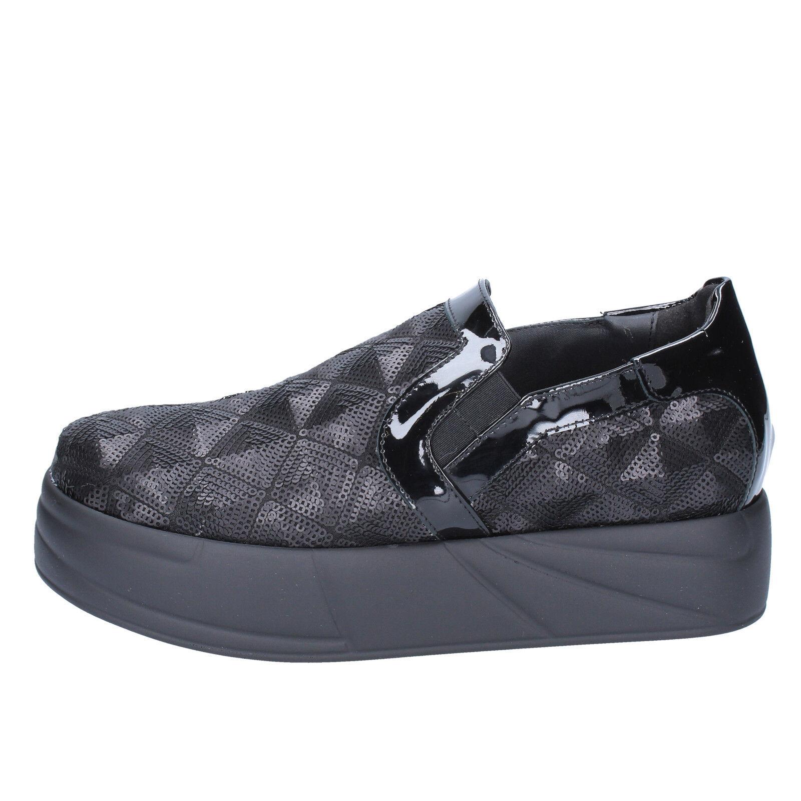 Chaussures Femmes Jeannot 36 Mocassins Slip-on Noir Paillettes bx129-36