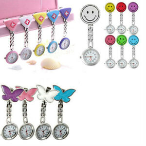 Women-Butterfly-Smile-Face-Analog-Quartz-Clip-On-Brooch-Pocket-Nurse-Watch-Hot