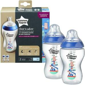 2x-Tommee-Tippee-Closer-to-Nature-340ml-Illustrated-Anti-Colic-Baby-Bottle-3M