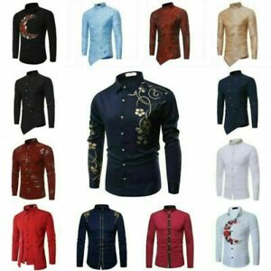 Luxury-Men-039-s-Stylish-Casual-Dress-Shirt-Slim-Fit-T-Shirt-Long-Sleeve-Formal-Tops