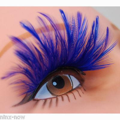 Feather False Eyelashes Electric Blue with Adhesive