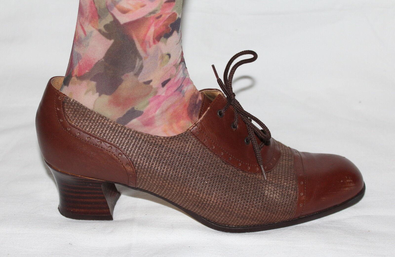 80er 80s Vintage Leder Damen Budapester Schuhe 41 Leder Lace Up PUMPS BROGUES