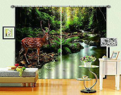 3d Hirsch Wald 477 Blockade Foto Vorhang Druckvorhang Vorhänge Stoff Fenster De
