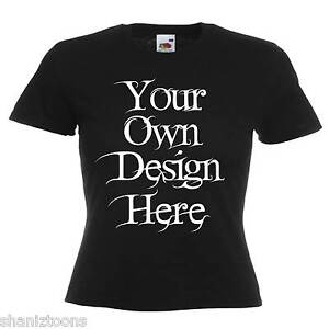 Ladies-Womens-Black-T-Shirt-Personalised-Text-Logo-Custom-Design-Hen-Night-Party