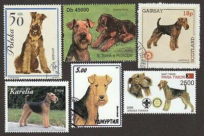 Dog Art Head Study Portrait Postage Stamp AIREDALE TERRIER Yugoslavia 1994 MNH