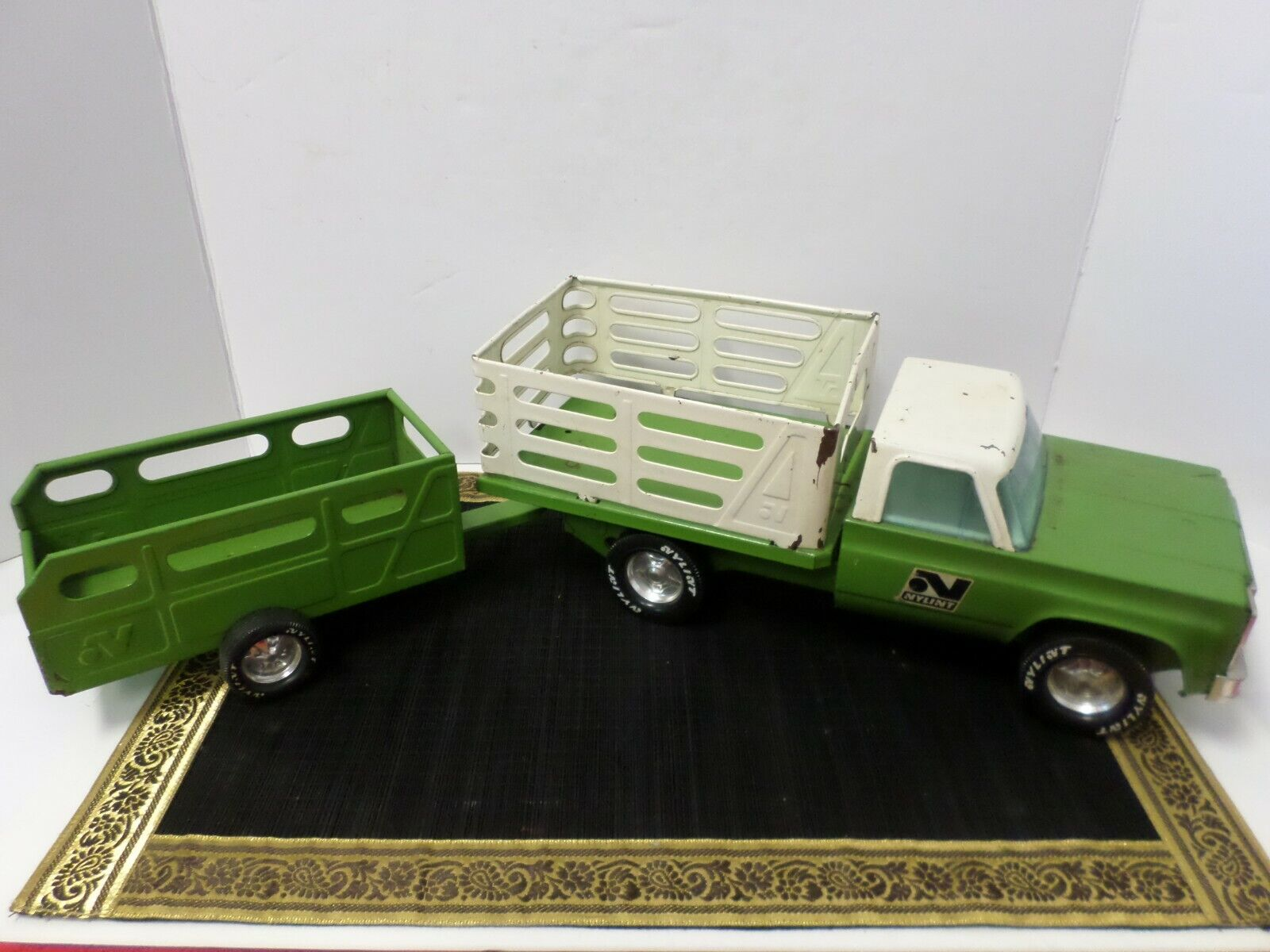 Vintage Green Nylint Pressed Steel Livestock Farm Truck With Trailer