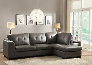 luxurious leather gray grey sofa chaise sectional living room