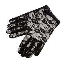 Gloves - Fancy Dress - Lace - Black Bride Wedding Party - Floral - New From UK