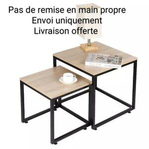 Table Basse En Chêne Massif Huilé 2er Set D'Appoint 2x de Salon Lubao