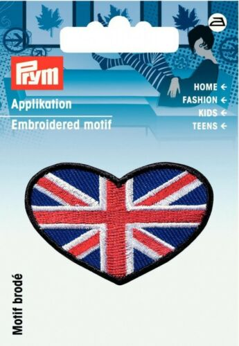 each Prym Iron On Embroidered Motif Applique Heart Shape Union Jack 926029