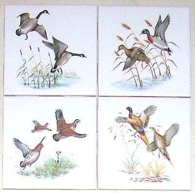 "Wild Bird Ceramic Tile Kiln Fired set of 4 Geese Quail Pheasant Duck 4.25"" Birds"