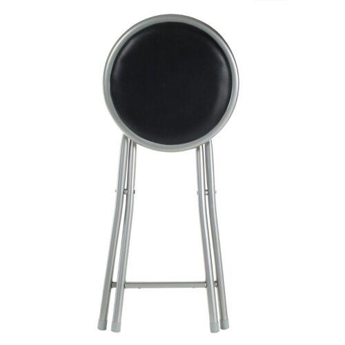 Black Hêtre Rond siège pliant Junior Tabouret poids léger siège rembourré