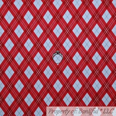 BonEful FABRIC FQ Cotton Quilt Patchwork USA Red White Blue Star Stripe US Block