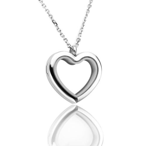Living Life Stainless Steel Floating Heart Memorial Locket Pendant Necklace