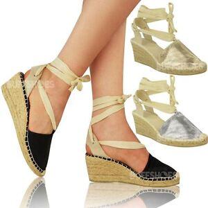 Womens Ladies Summer Wedges Low Heel Espadrilles Lace Up Glitter ...
