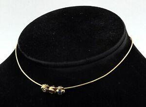 Heavy 18K yellow gold 1.35CT diamond Pink & Blue sapphire choker necklace