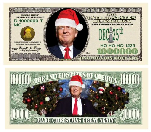 Donald Trump Merry Christmas Santa Presidential Million Dollar Bill with Holder