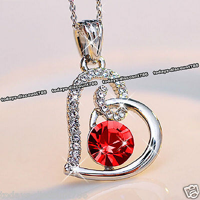 Red Crystal Heart Necklace Love Xmas Present Gifts For Her Wife Girlfriend Women