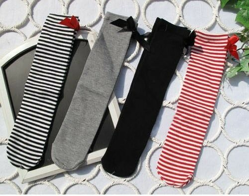 Toddlers Kids Girls Cotton Bow Soft Knee High Socks 2-8Y Tights KHS002