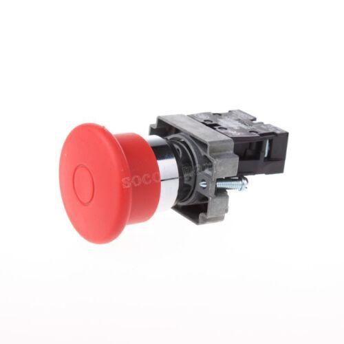 22 mm NC Rouge Champignon Arrêt d/'urgence Bouton Poussoir Interrupteur 415 V 10 A ZB2-BT42