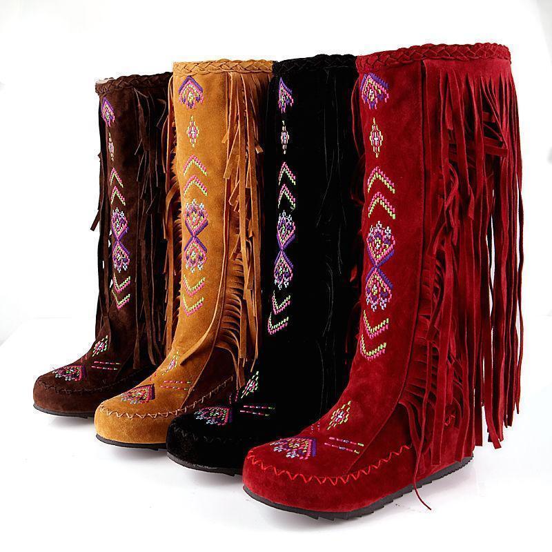 Fashion WOMENS Bohemian Tassle Hidden Wedge Moccasin KNEE HIGH Boots shoes Dln12