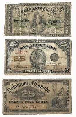 Canada 1870B 1900 1923 Dominion of Canada 25c x 3 pcs lot #5837