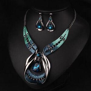 Damen-Schmuckset-Halskette-Ohrringe-Blau-Kristall-Strass-Hochzeit-Schmuckset-Neu
