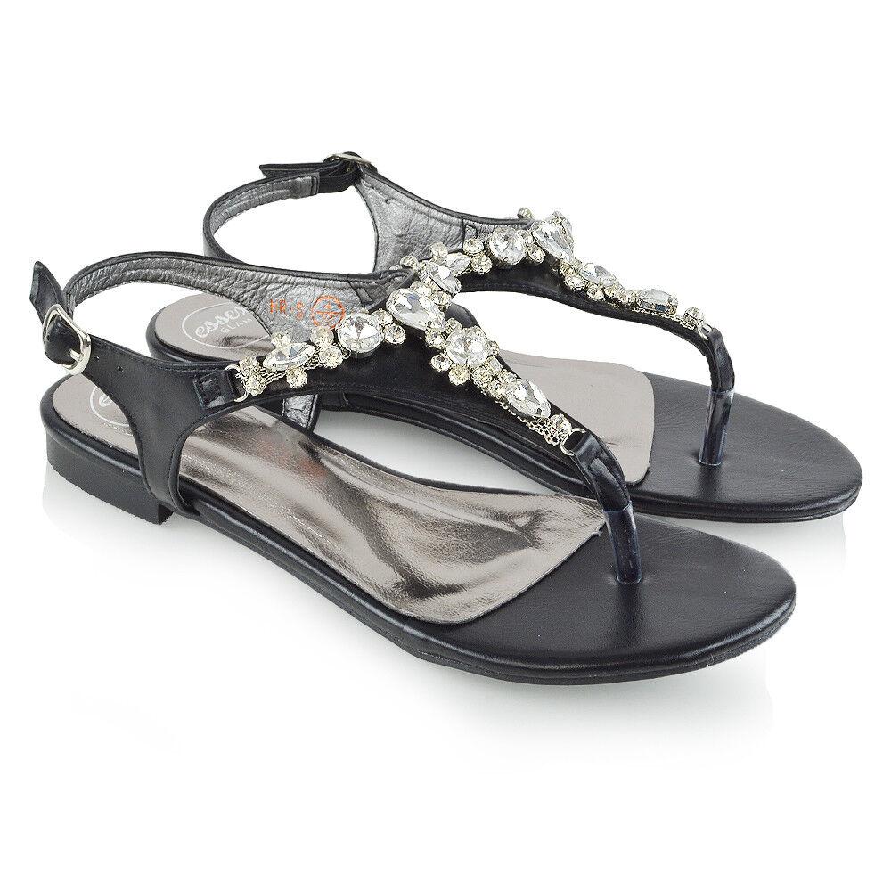 les sandales de femmes après après femmes la barre en t mesdames gem pied plat diaFemmete broche holiday chaussures taille afa17b