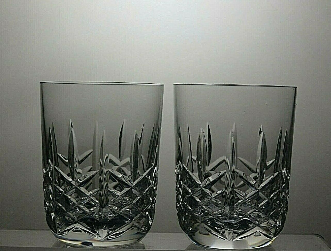 2 WATERFORD CRYSTAL MARQUIS  EARLS COURT  CUT WHISKY 9 OZ TUMBLERS - 3 3 4 tall