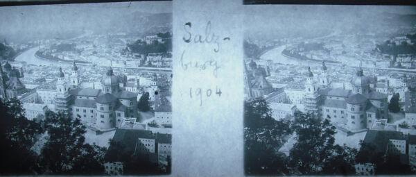 Intelligent Stéréoscopique Photographie Autriche Salzbourg Vue Générale 1904 Salzburg