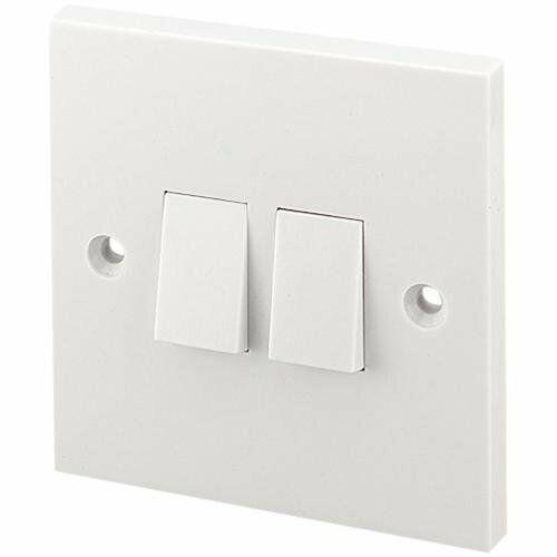 Double Interrupteur De Lumière en Plastique en Couleur Blanc Pack De 2