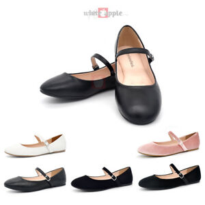 Women Mary Jane Round Toe Ballet Flat Fastener Ankle Strap Casual ...