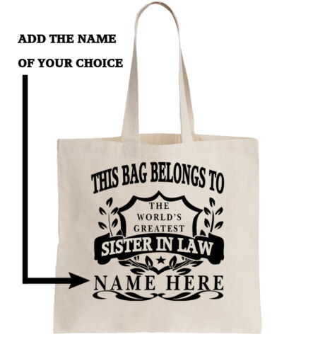 Personalised Tote Shopper Add Name Shopping Gift World/'s Best Sister in Law