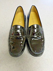 8ee87ccad55 Image is loading Cole-Haan-black-patent-leather-penny-loafers-Women-