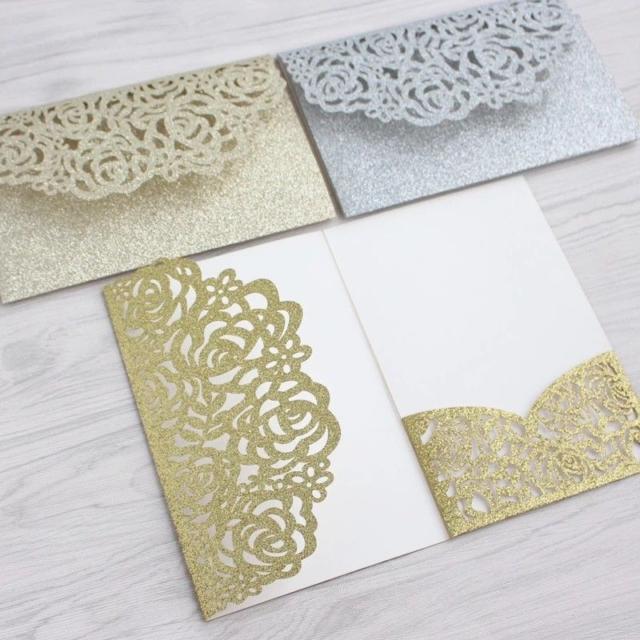 1 25 50 100pcs Wedding Invitation Card Kit With Envelope Personalized Printing
