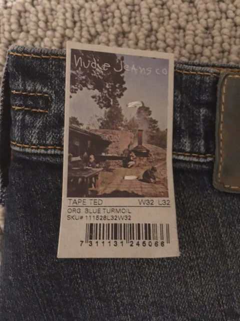 NUDIE JEANS TAPE TED blueE TURMOIL ORGANIC blueE L32 BRAND NEW WITH TAGS