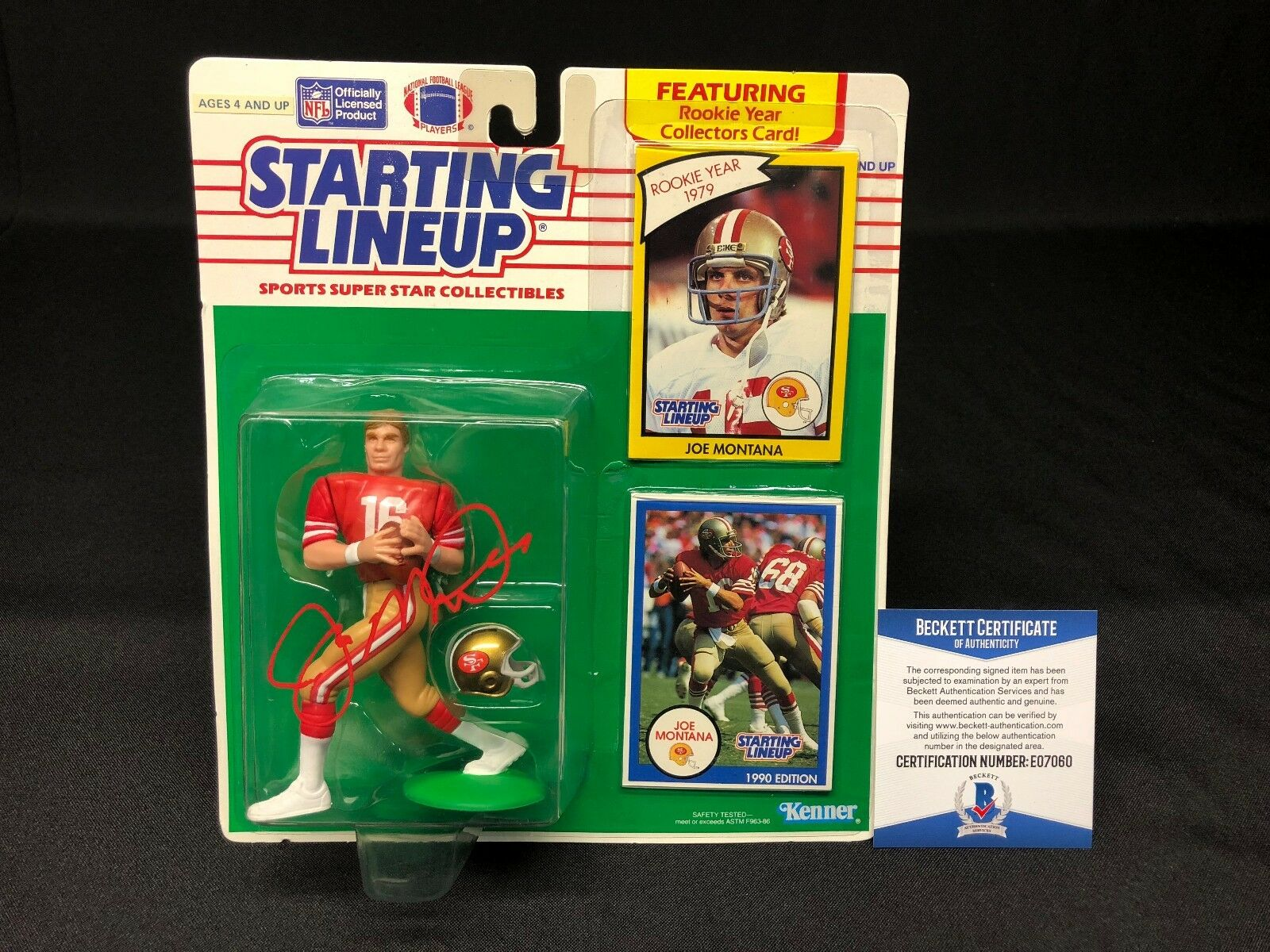 Joe Montana Signed San Francisco 49ers Football Starting Line Up BAS Beckett