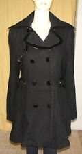 """""""Bebe"""" Black Wool & Nylon Coat w/Patent Leather Trim~Size L (M)~Double-breasted~"""
