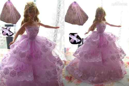 ON SALE-Barbie Doll sized Cloth//Accessory-1 Fashion Dress+1 Veil+1 Gloves-BEST@@