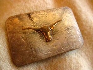 True-Vtg-40s-50s-JUSTIN-CHROME-OVER-BRASS-LONGHORN-COWBOY-CLIP-BUCKLE-FITS-1-5-034