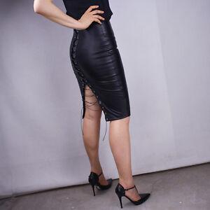 111e632490 Bound Midi Pencil Skirt Leather Look Black High Waist Rise Bodycon ...