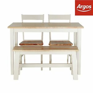 at argos chicago rubberwood table bench 2 chairs two tone ebay