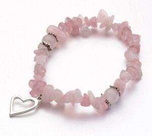 Rose Quartz Bracelet Crystal Gemstone Love Reiki Healing Chakra Heart Charm Gift