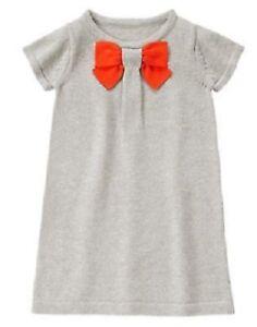 Gymboree-Prep-Perfect-Gray-Sweater-Dress-W-Orange-Bow-Size-4-5-6-7-8-10-NEW