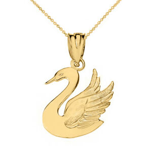 Details about 10k Yellow Gold Swan Cygnini Symbolizes Grace, Love, Beauty  Pendant Necklace