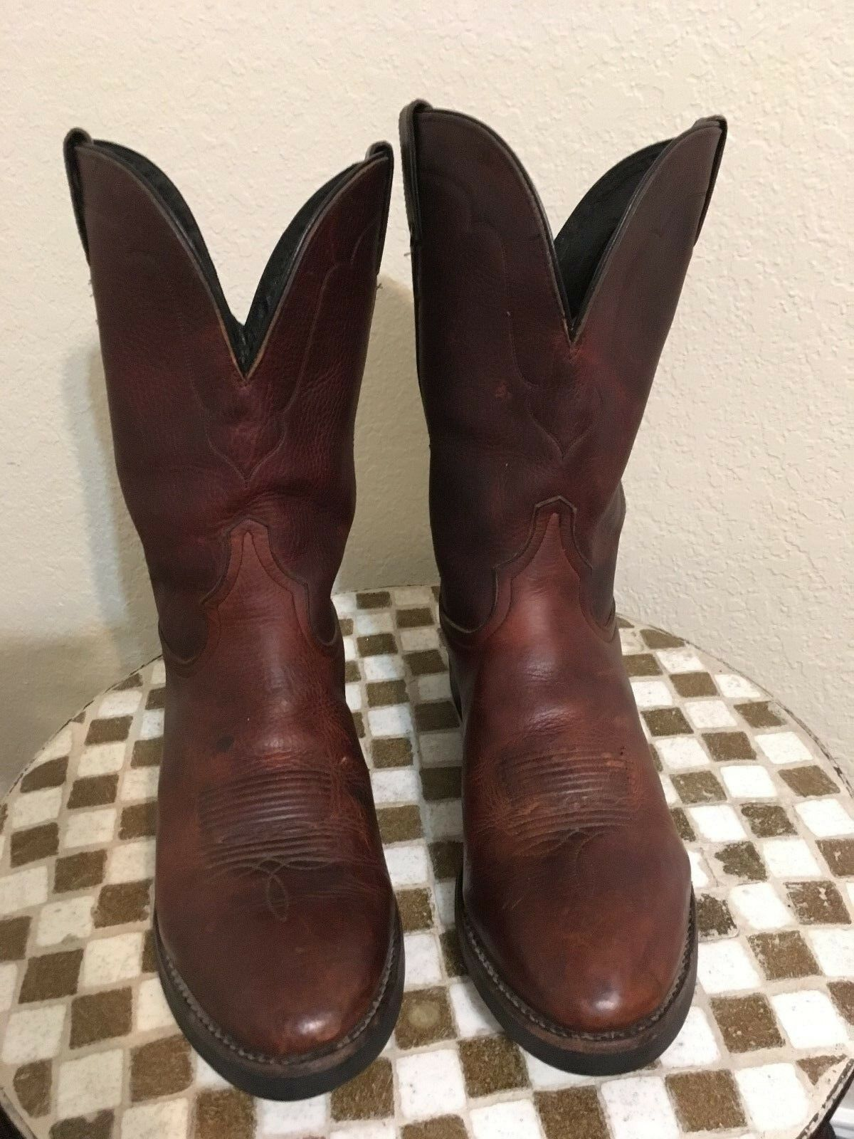 BROWN TONY LAMA USA DISTRESSED WESTERN TRUCKER COWBOY BIKER BOOTS 11 D