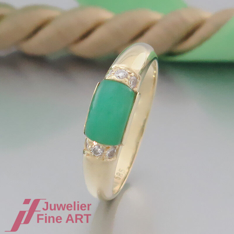 SALDI  Anello Moderno con con con 1 Chrysopras + 6 brillante (diamante) - 14k 585 GG bbe869